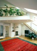 Türkenstrasse, Wohnzimmer, Flatscreen, Fernseher, Kamin, Pflanzen, Galerie, Luftraum, Teppich, Spots, ( Die Pflanzen in der Galerie begrünen das Wohnzimmer zusätzlich )